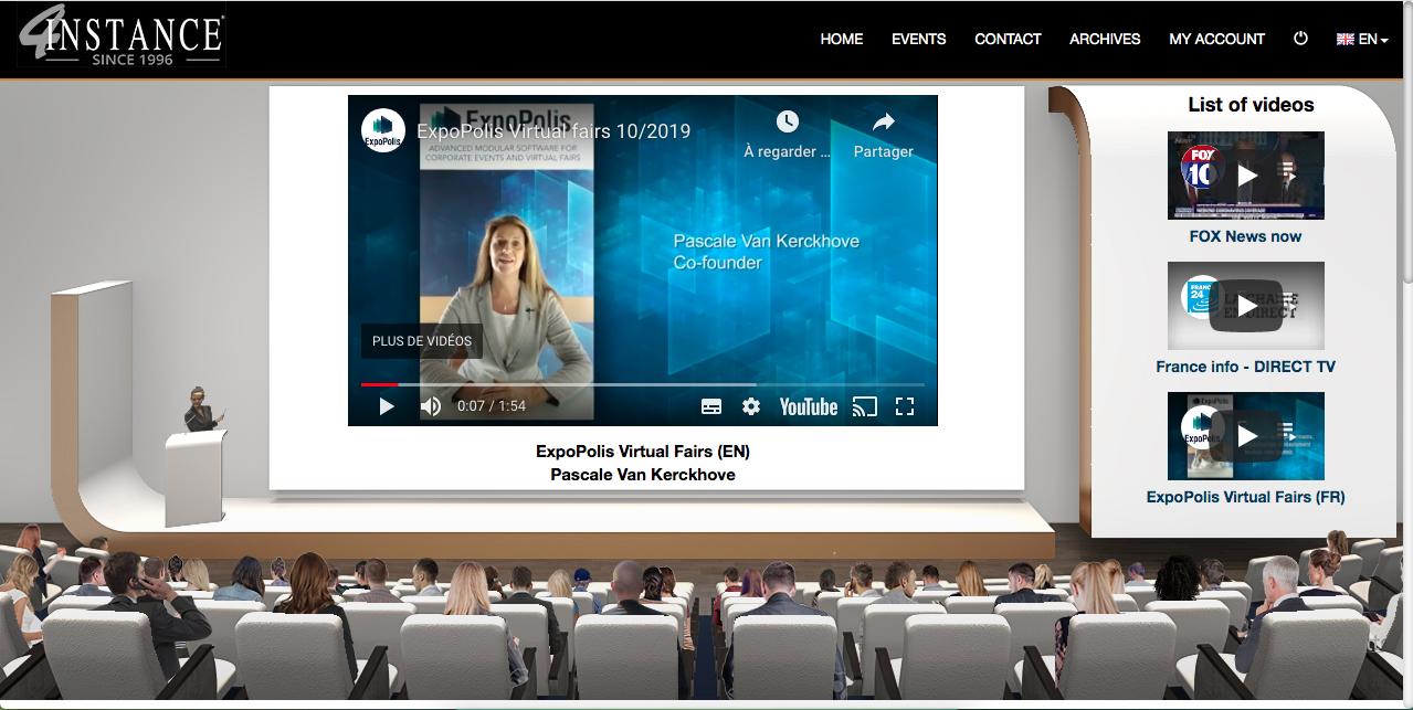 salle de conférence sur un salon virtuel conçue par Expopolis